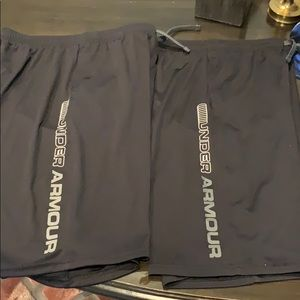 2 Pair Excellent cond Boys YXL Under Armour shorts